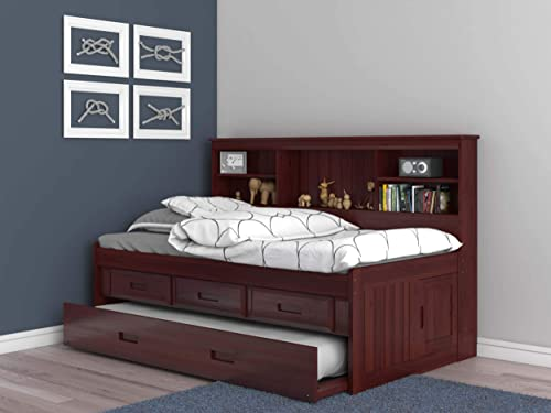 Discovery World Furniture Twin Bookcase Daybed with 3 Drawers and Twin Trundle, Merlot