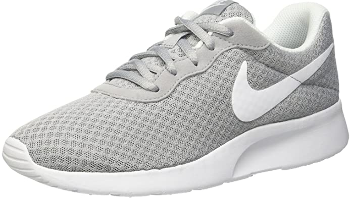 Nike Tanjun Damen Sneaker Laufschuhe Grau mit Weißem Streifen