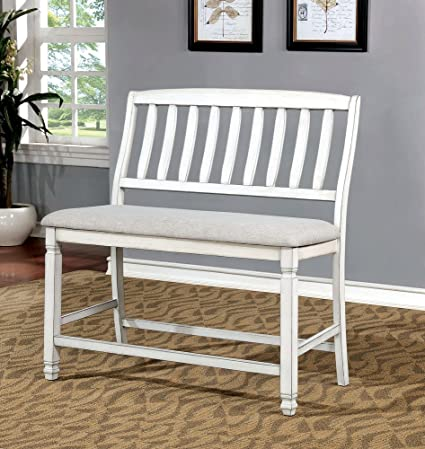Excellent Amazon Com Kaliyah White Fabric Wood Counter Height Bench Machost Co Dining Chair Design Ideas Machostcouk