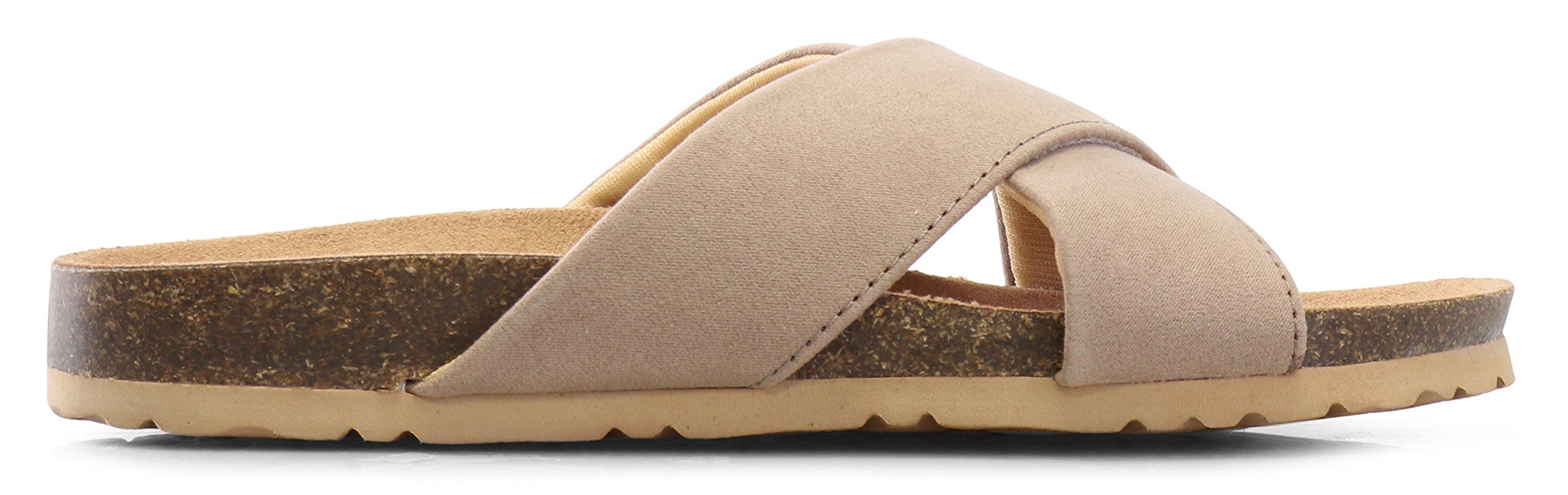 LUSTHAVE Women's Slip on Slide Sandals - Low Cork Bottom - Comfort Platform Flats - Open Toe Light Taupe 9