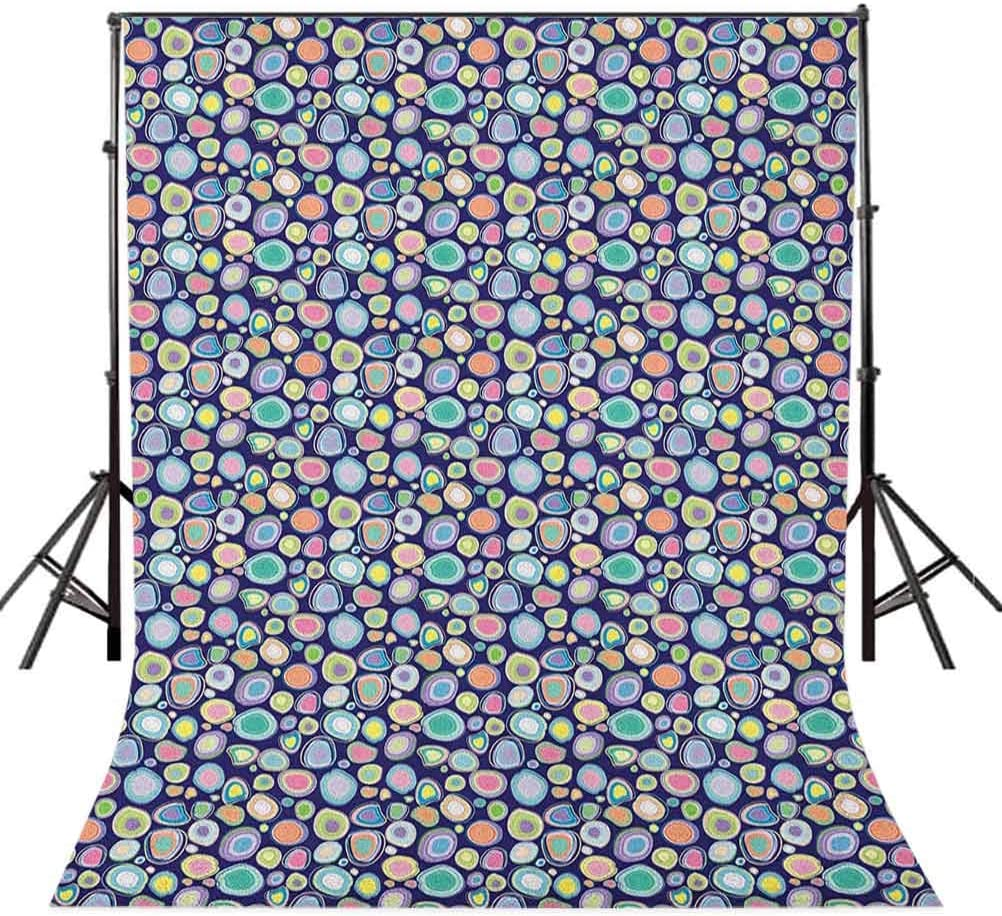 8x12 FT Colorful Vinyl Photography Backdrop,Stylized and Colored Circles Abstract Blots Funky Happy Crazy Shapes on Navy Blue Background for Party Home Decor Outdoorsy Theme Shoot Props