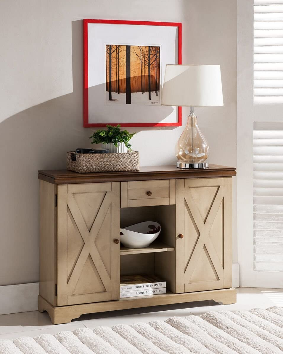 Kings Brand Furniture Console Table, Antique White Walnut