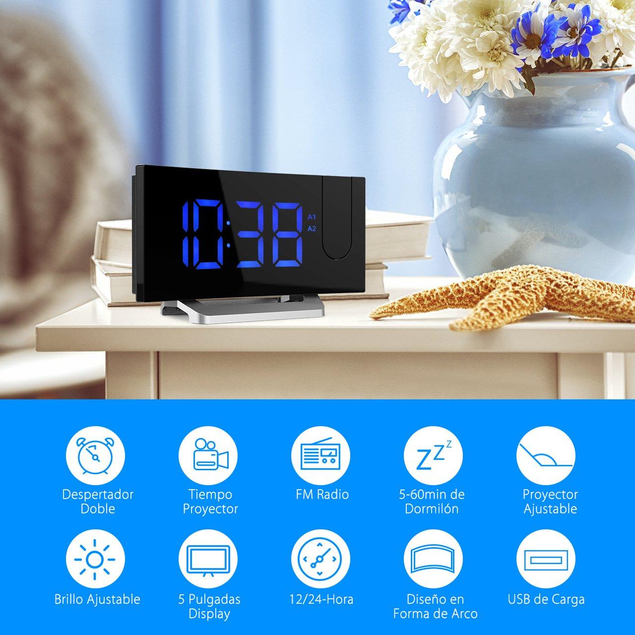 Mpow Radio Despertador Digital, Despertador Proyector con Alarma de Proyección de FM y Alarmas Dual, Radio Reloj Despertador con Proyector, Función Snooze, ...