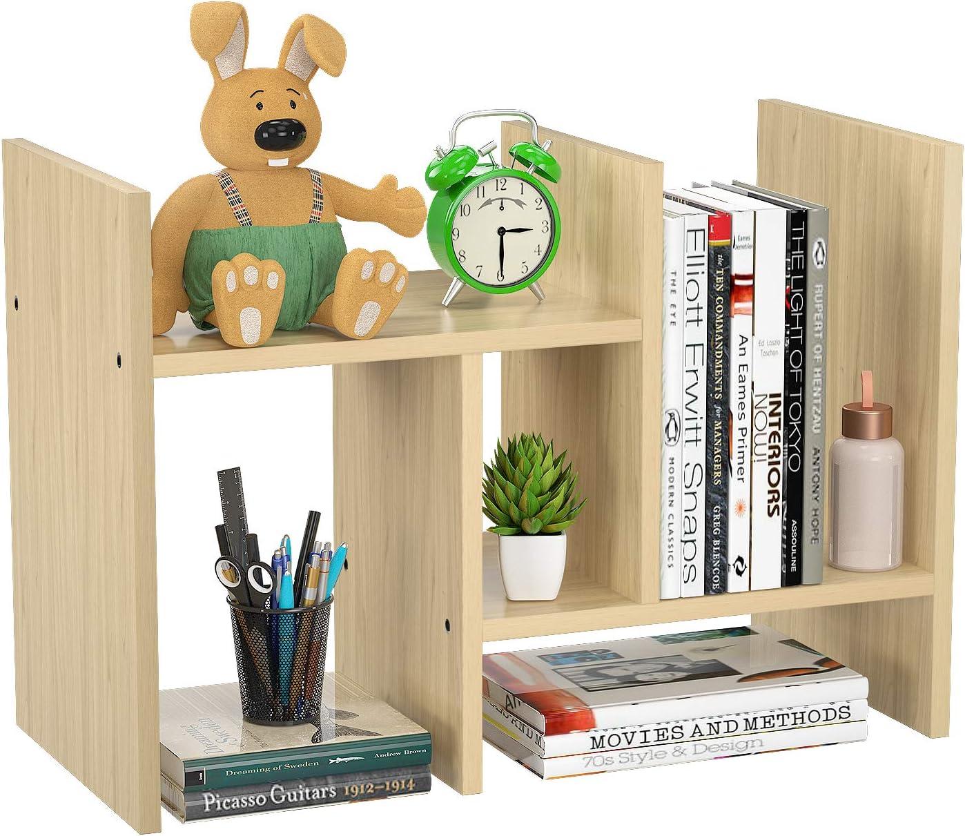 FoxEmart Desktop Shelf Organizer, Adjustable Wood Display Desk Shelf, Countertop Storage Rack Tabletop Bookshelf Multipurpose Shelves for Home Decor, Office, Kitchen, Bathroom - Natural