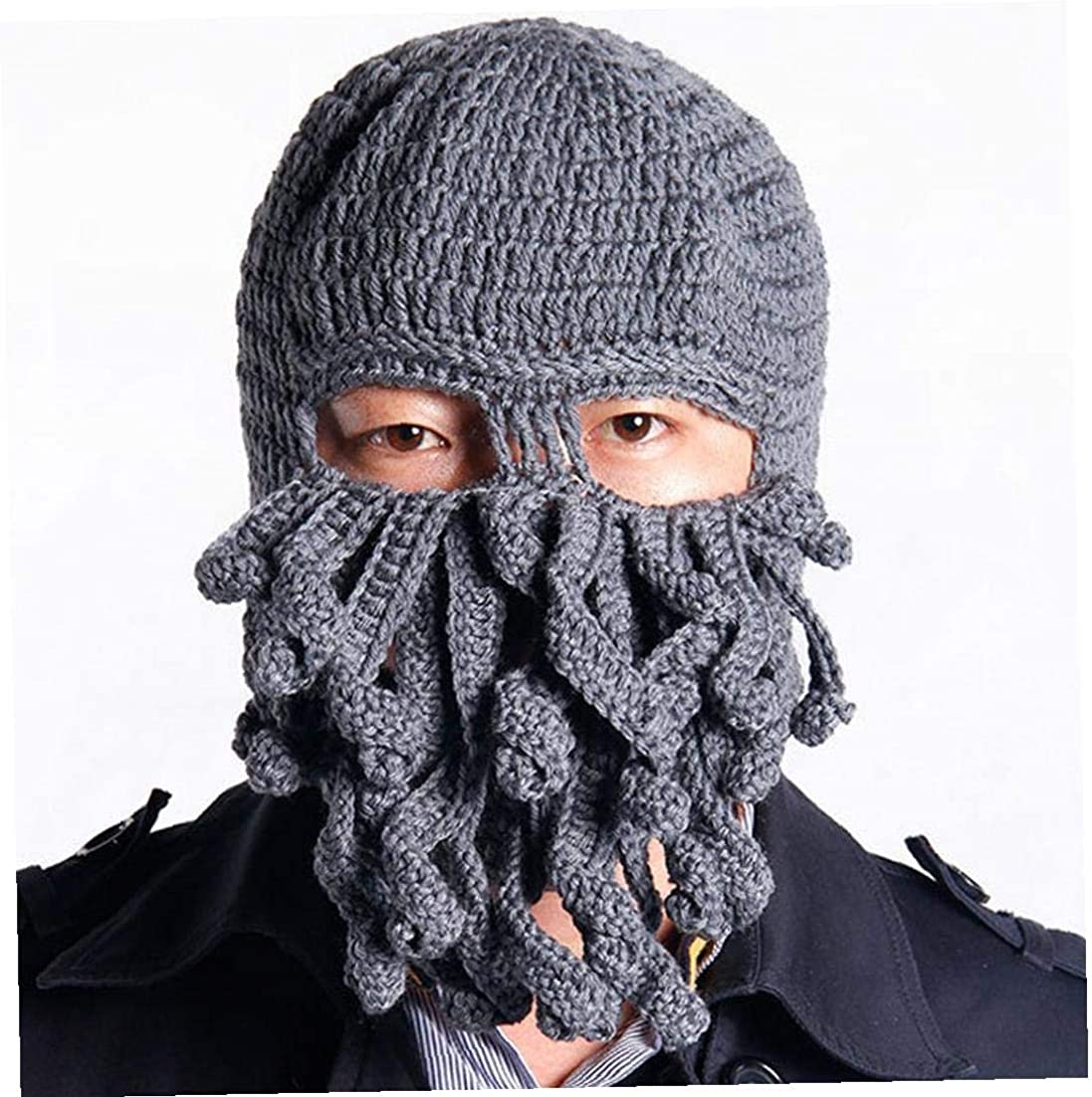 gr/ün Lustige Tentakel Octopus Hut Kopfbedeckung-kopf-verpackungs-ausschnitt Balaclava Knit Wind-schablonen-hut Wollm/ütze F/ür Motorrad-skelett