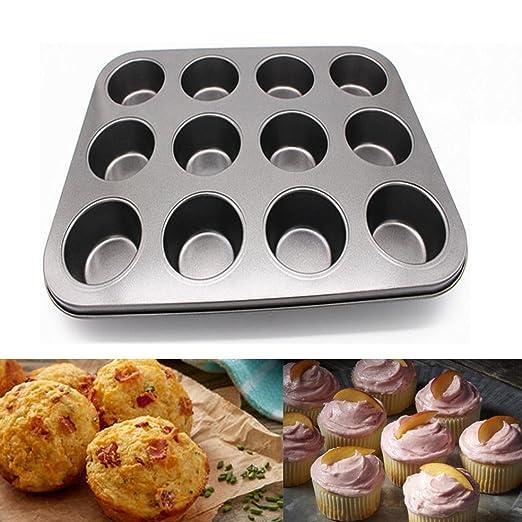 kimanli 12 Copa Muffin de acero al carbono para hornear magdalenas ...