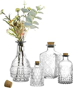 MyGift Vintage Embossed Various Sizes Clear Glass Bottle Apothecary Flower Bud Vases with Cork Lids, Set of 4