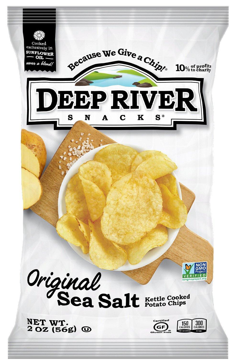 Deep River Snacks Original Sea Salt Kettle Cooked Potato Chips, 2-Ounce (Pack of 24)