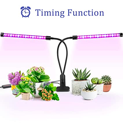 Grow Light, Ankace Upgraded Version 40W Dual Head Timing 36 LED 5 Dimmable  Levels Plant Grow Lights for Indoor Plants with Red Blue Spectrum,
