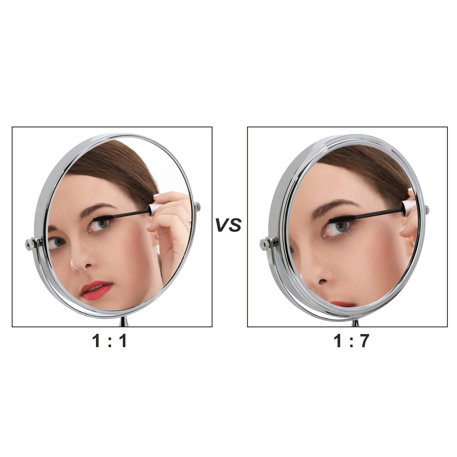 SONGMICS 8'' Two-Sided Wall Mount Makeup Mirror 360° Swivel Extendable 7x Cosmetic Mirror UBBM713 by SONGMICS (Image #3)