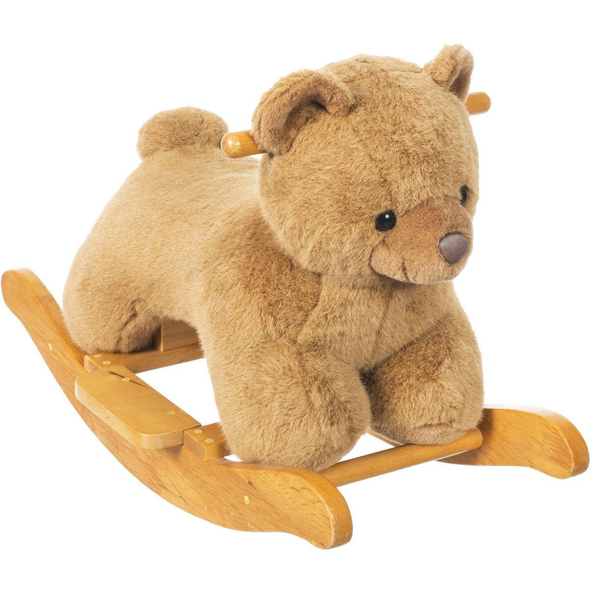 Baby Schaukeltier Bärchen aus Holz, kuschelweiches Plüsch - Schaukel Bär Schaukelpferd Plüsch Schaukel Spielzeug