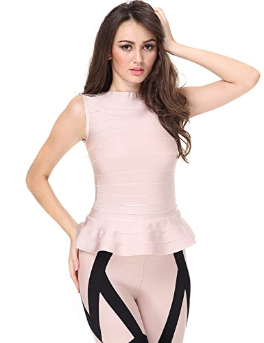 Adyce Bandage-Dress-Pink Caisole Full Slip Xas Party Wedding Guest, Elegant Clubwear Sleevelesss Top M