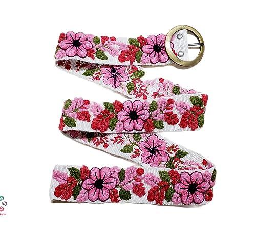 handmade embroidery XL artistic floral ethnic belt S L XS pink flower woman gift M Peruvian embroidered belt blue belt
