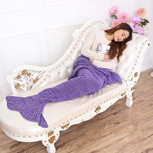 topist sirena manta manta cola de sirena de patrones para tejer manta para niños y adultos, Super Suave y Fashion - Sacos de dormir, poliéster, Morado, ...