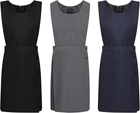 Pleated Girls School Uniform Pinafore Dress Sizes Age 2-16 Black Grey Navy