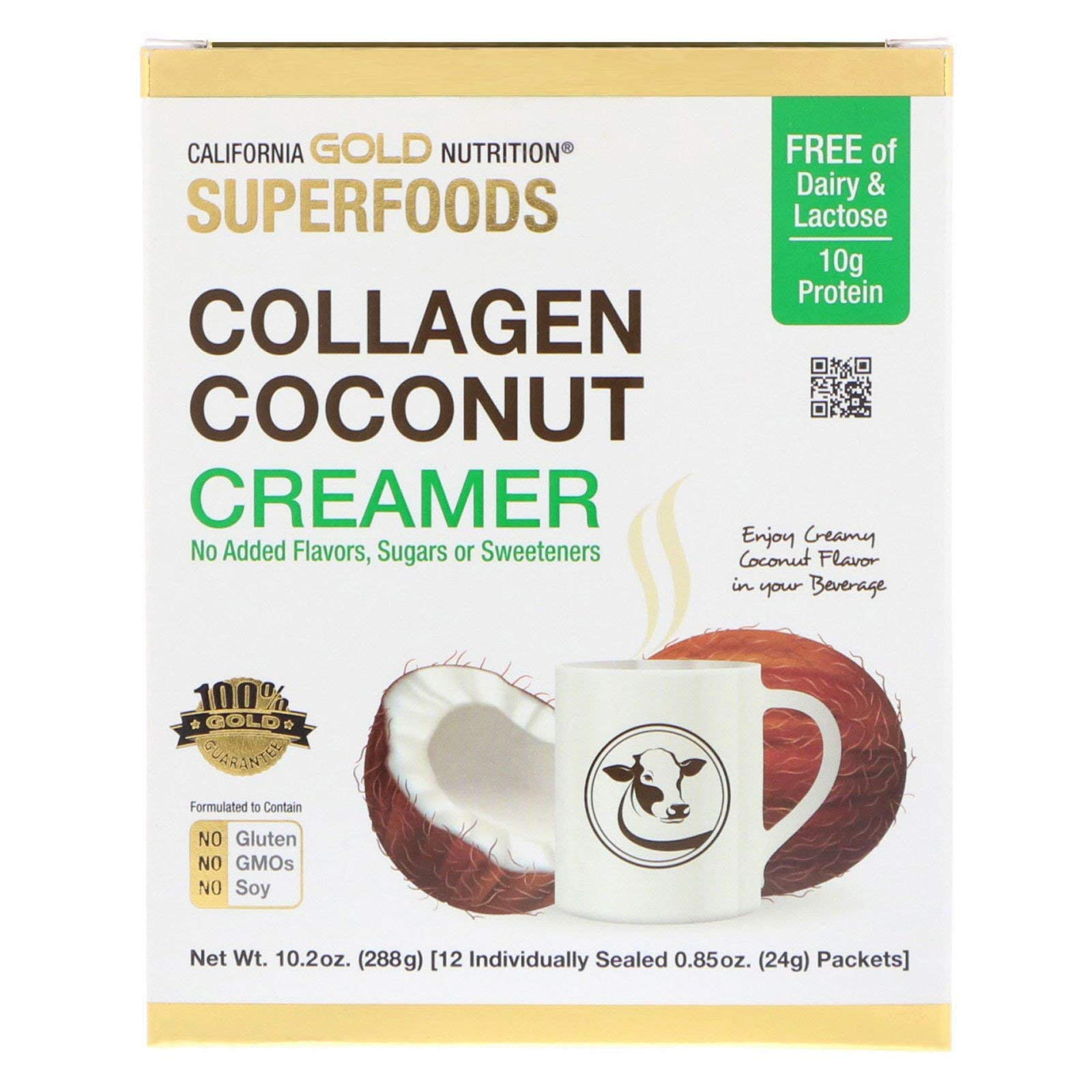 California Gold Nutrition Superfoods Collagen Coconut Creamer Unsweetened 12 Packets 0 85 oz 24 g Each
