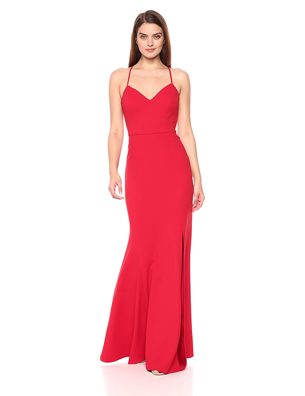 Scarlet Jenny Yoo Womens Reese Spaghetti Strap Fitted Crepe Gown Special Occasion Dress