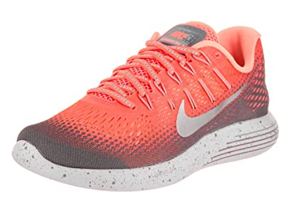 NIKE Women's Lunarglide 8 Shield Bright Mango/Metallic Silver Running Shoe  6 Women US