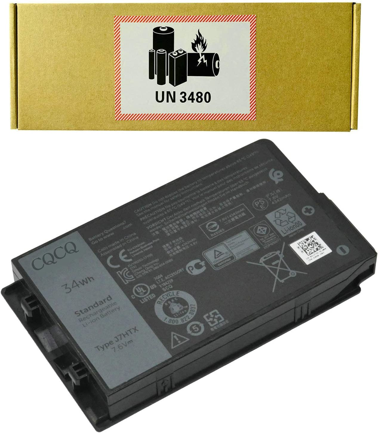 CQCQ J7HTX 7XNTR Battery for for Dell Latitude 7202 7212 7220 Rugged Extreme Tablet Series 0FH8RW FH8RW 27JT0 (7.6V 34Wh/4342mAh)
