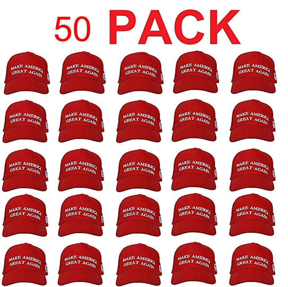 Make America Great Again Donald Trump USA Cap Adjustable Baseball Hat (50 Pack)