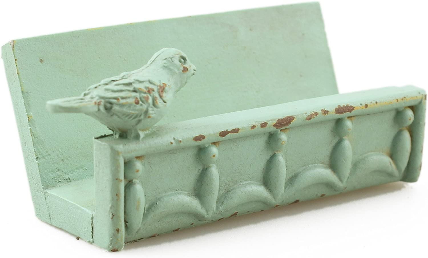 Desk Business Card Holder Stand Bird Design (Green)