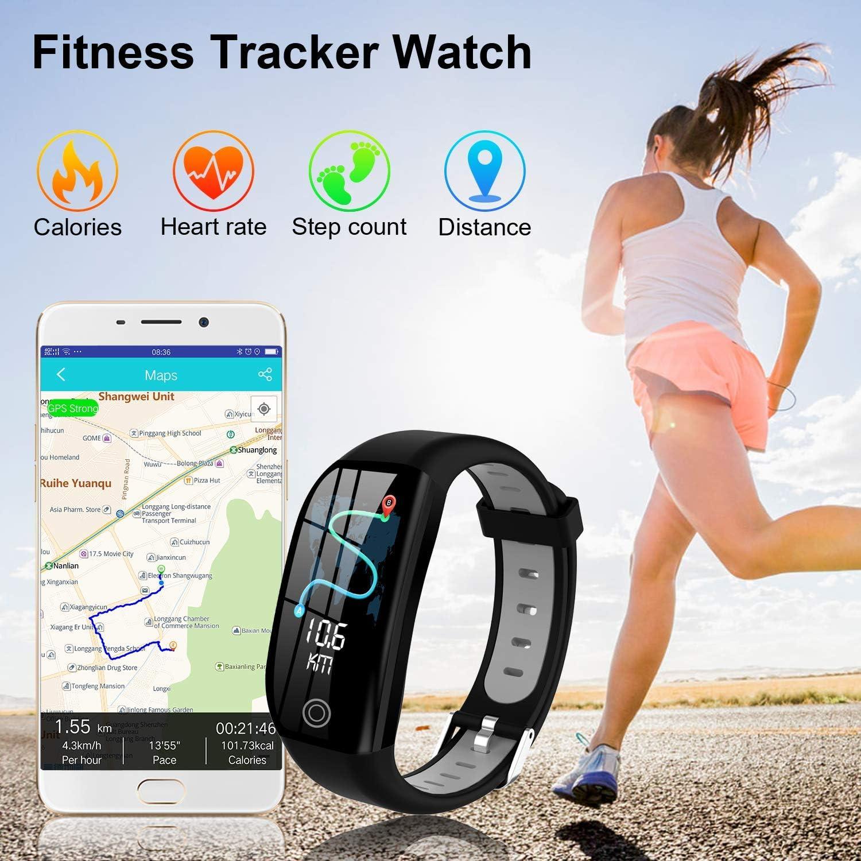 Tipmant Fitness Armband mit Pulsmesser Blutdruckmessung Smartwatch Fitness Tracker Wasserdicht IP68 Fitness Uhr Schrittz/ähler Pulsuhr Sportuhr f/ür Damen Herren Kinder Schwarz