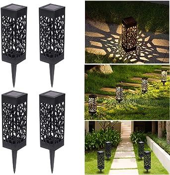 RXYYOS - Lámpara solar LED para jardín (4 unidades, para terraza, césped, jardín, patio, patio, caminos, luz blanca cálida): Amazon.es: Iluminación