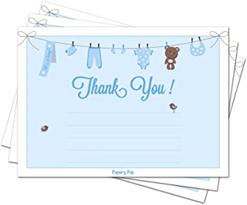 Amazon Com 30 Baby Shower Thank You Cards For Boys With Envelopes