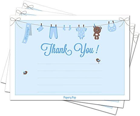 AmazonCom   Baby Shower Thank You Cards For Boys With Envelopes
