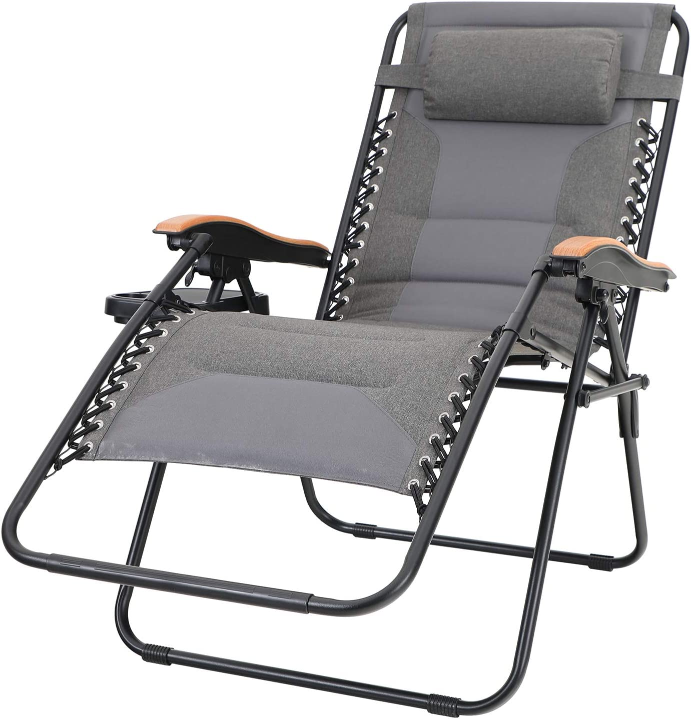 Sophia & William Padded Zero Gravity Chair Oversize Lounge Chair with Free Cup Holder, Supports 350 LBS (Grey)