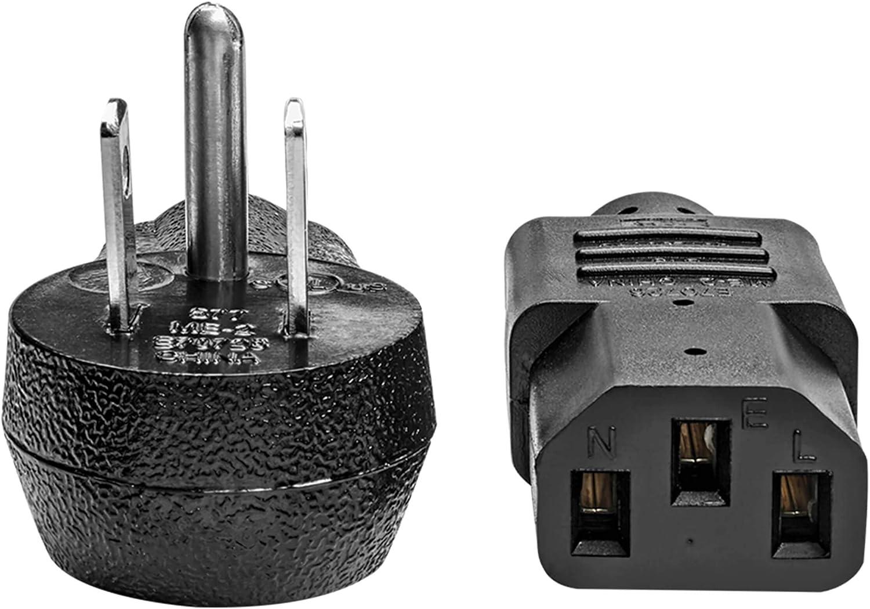 Right-Angle NEMA 5-15P to C13-10A Black Desktop Computer AC Power Cord 15 ft 18 AWG 125V