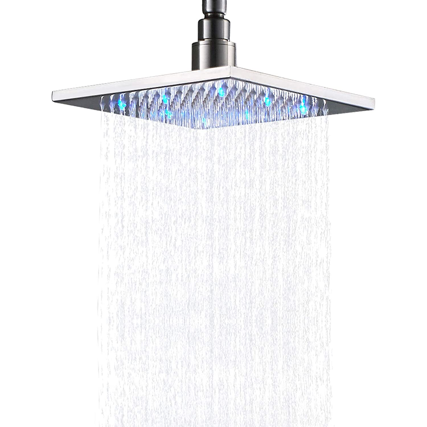 Stainless Steel 16 Inch LED Square Rain Shower Head Top Sprayer Brushed Nickel
