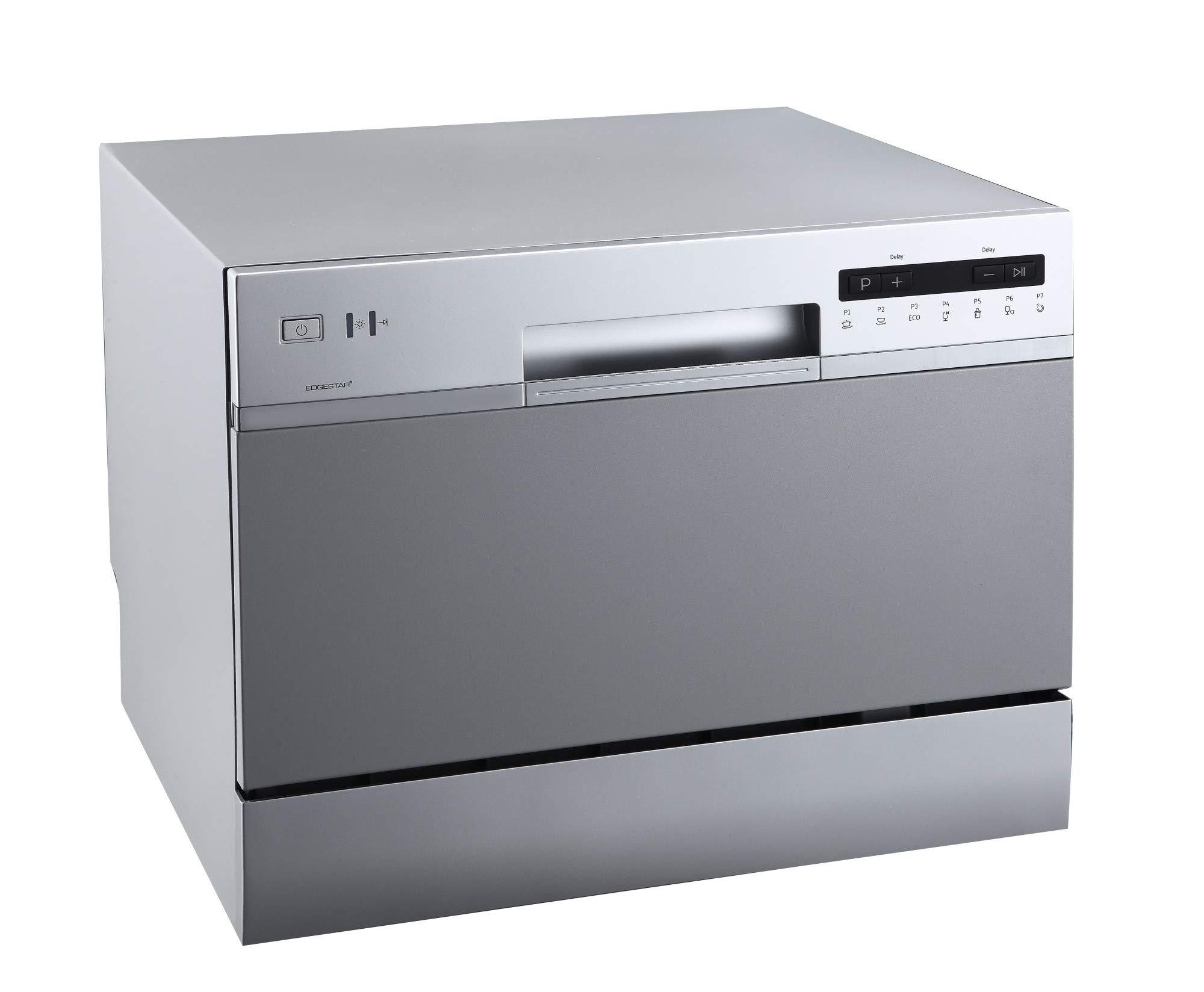 EdgeStar DWP62SV 6 Place Setting Energy Star Rated Portable Countertop Dishwasher - Silver by EdgeStar