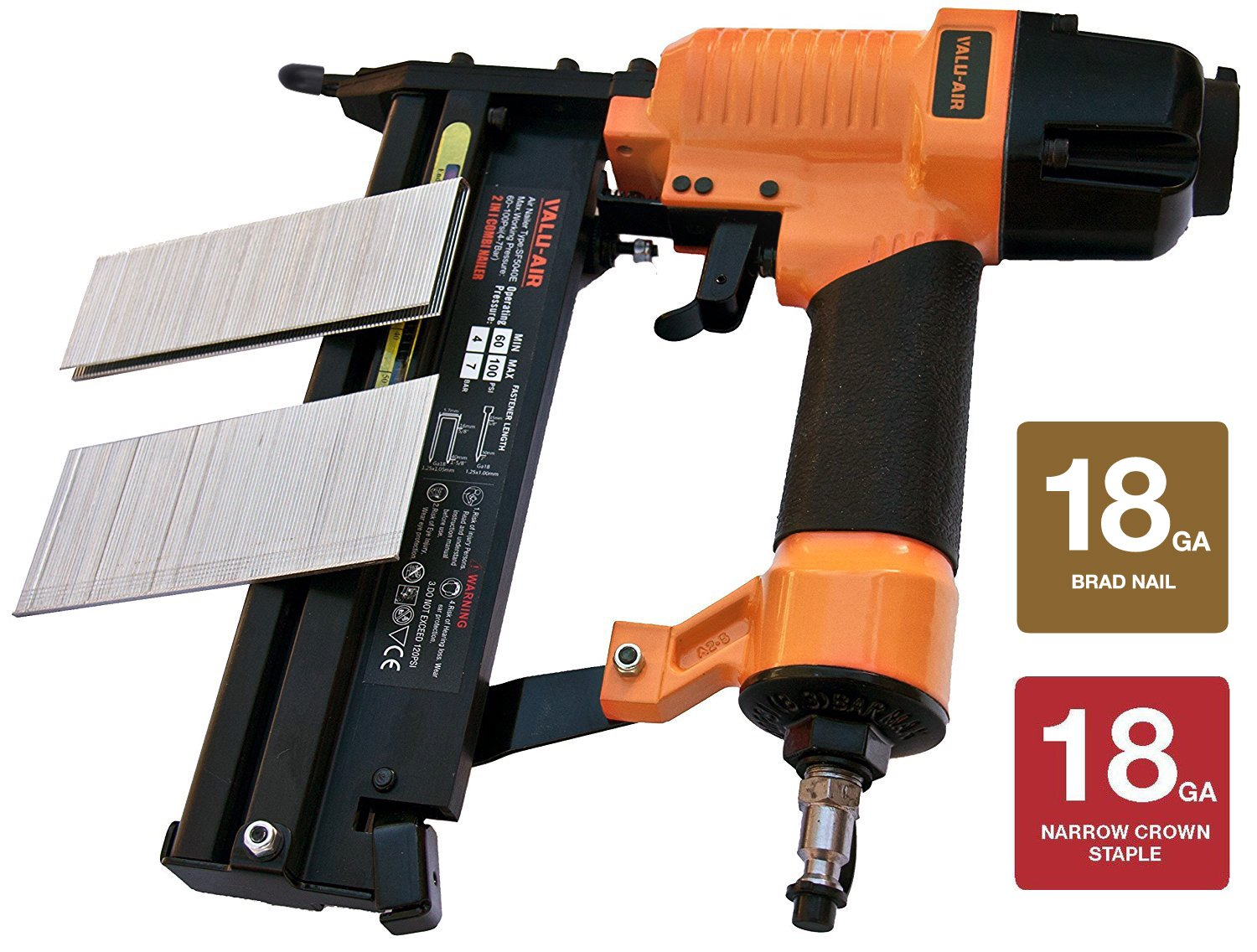 Valu-Air SF5040 2'' 18 Gauge 2 in 1 Brad Nailer and Stapler with Carrying Case