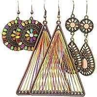 3 Pairs Christmas Vintage Bohemian Drop Dangle Earrings National Style Hollow Waterdrop Petal Leaf Beaded Statement Earring