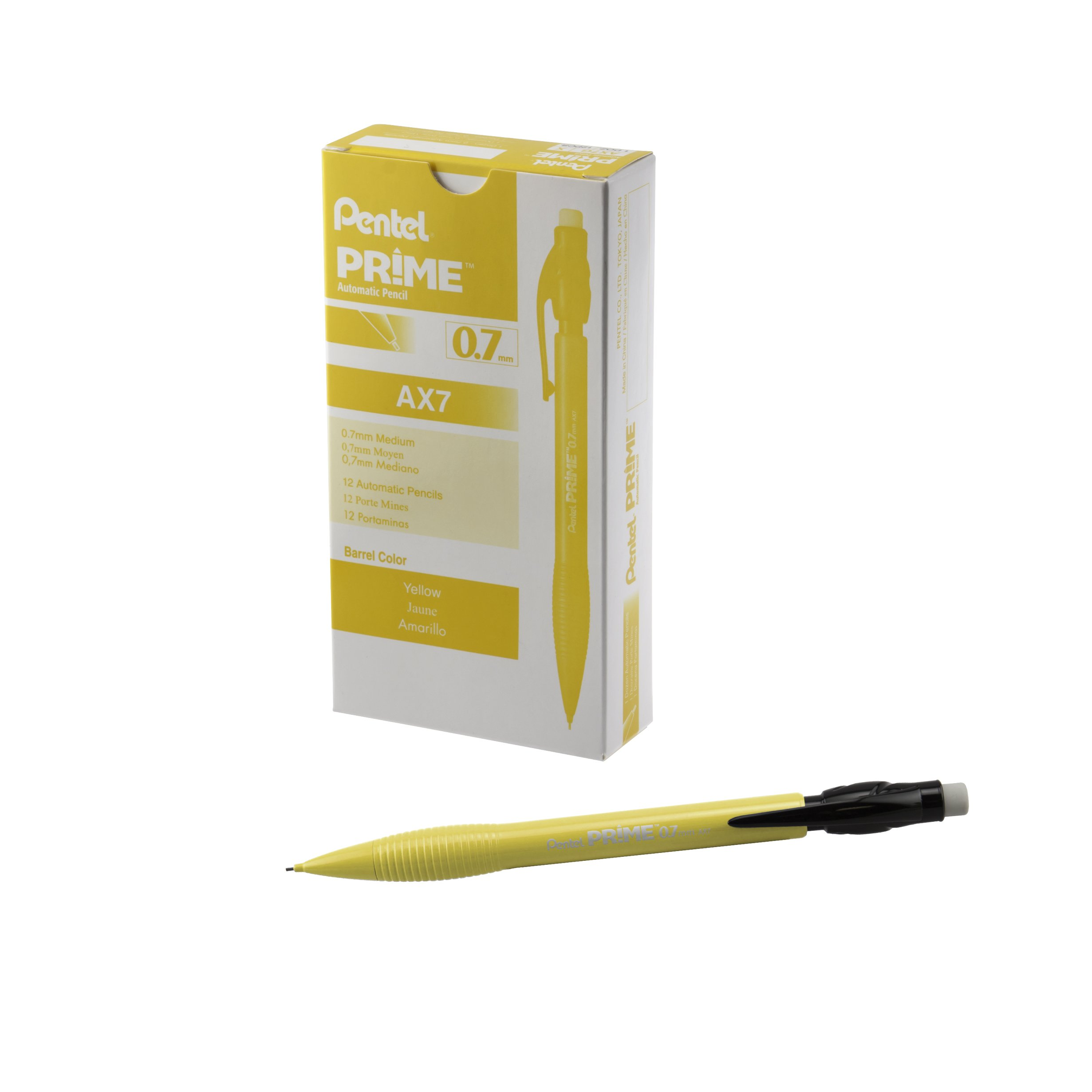 12 x Pentel Primer Portaminas 0,7, camisa amarilla