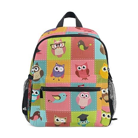 COOSUN Kinder mosaico búhos mini niños Mochila preescolar bolsa del niño Multicolor