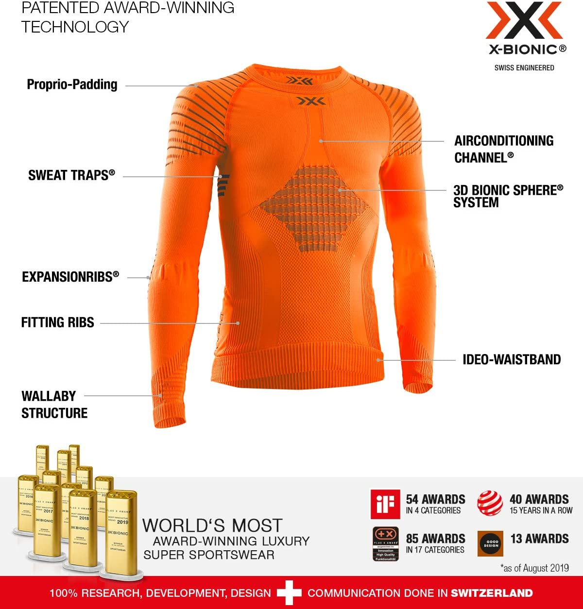 X-Bionic Invent 4.0 Shirt Round Neck Long Sleeves Junior Capa De Base Camiseta Funcional Unisex ni/ños
