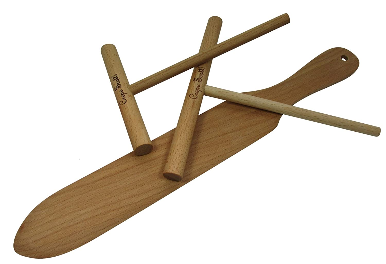 Crepe and Pancake Making Tool Set. 3 Piece Baking Set Includes One 14 Inch Turner, One 7 Inch and One 5 Inch Batter Spreader. Made of Beech Wood and Pre-Seasoned with Mineral Oil. By Crepe Scott Crepe Scott!
