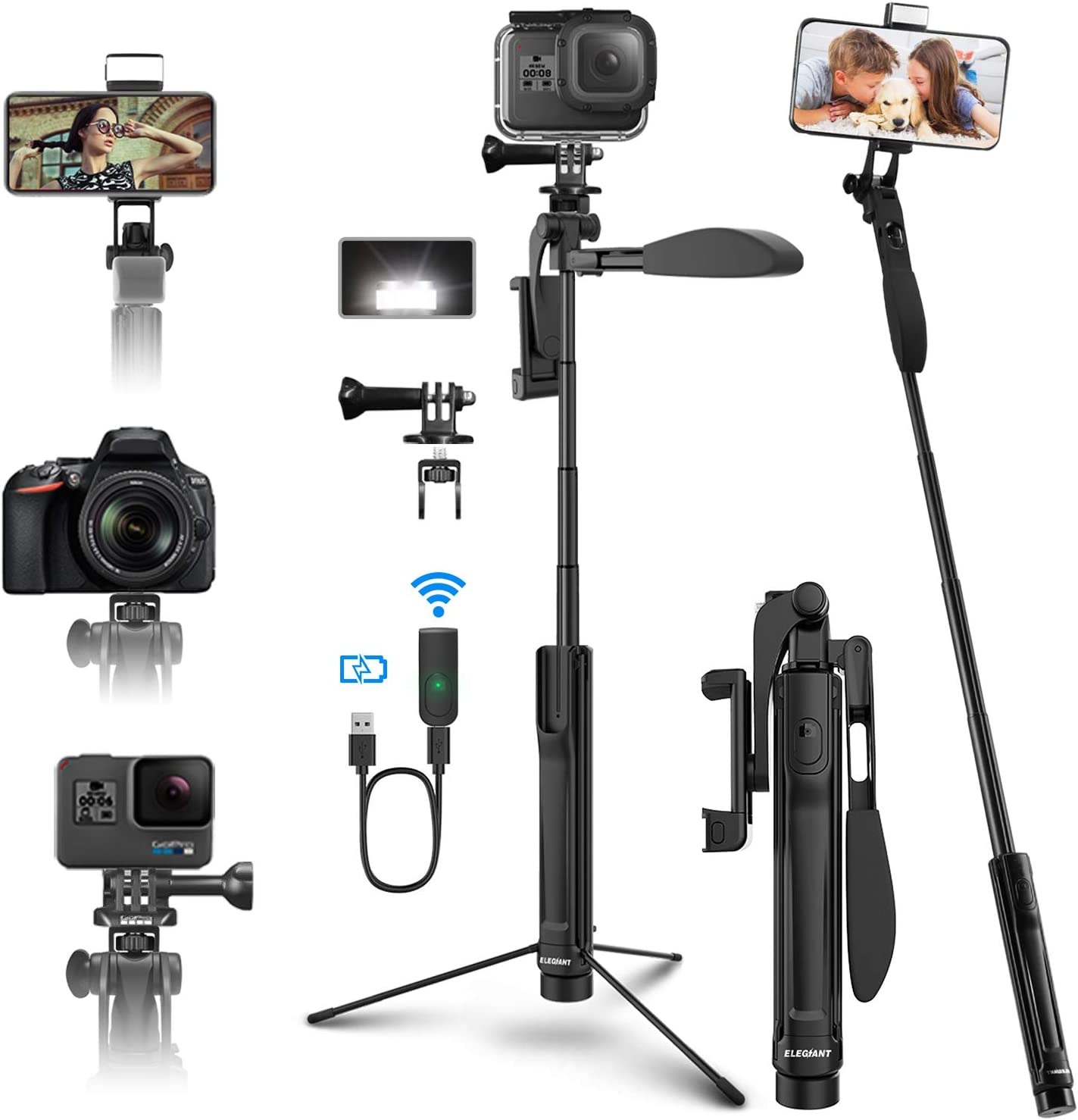 and Gopros DSLR Cameras Emart 51 inch Extendable Selfie Stick /& Tripod Stand Lightweight with Wireless Bluetooth Remote Fits iPhone