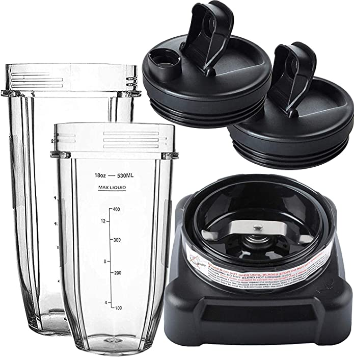 BL610 Blade Compatible with Nutri Ninja with 18oz Cup and 24oz Cup & Cup Lids,Blender Replacement Parts C
