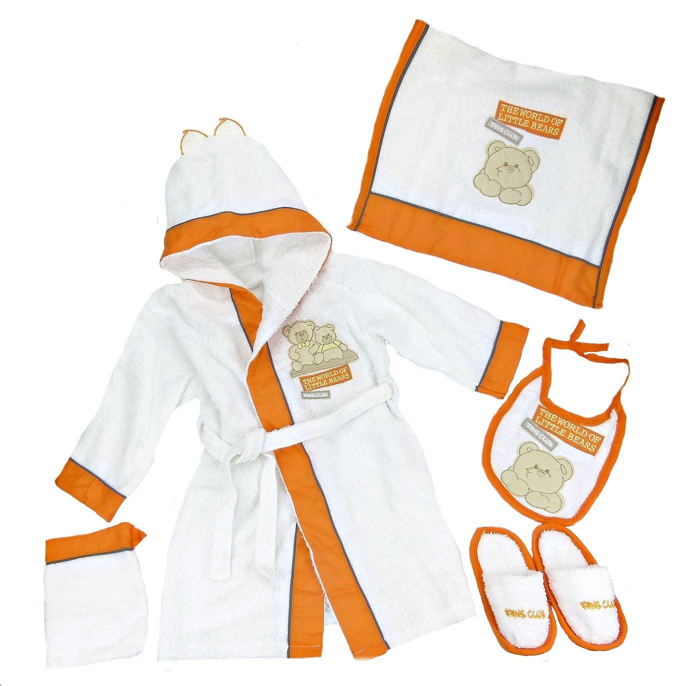 Bebessi Baby Bademantel Set mit Kapuze 5tlg Baumwolle