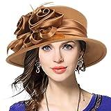 VECRY Women's Wool Church Dress Cloche Hat Plumy