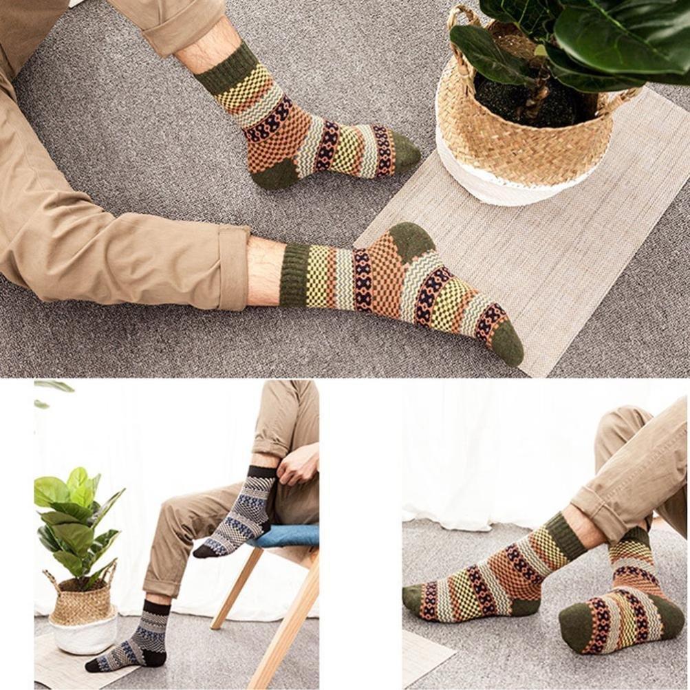 Fheaven 5 Pairs Mans Knit Printed Warm Wool High Ankle Socks Winter C