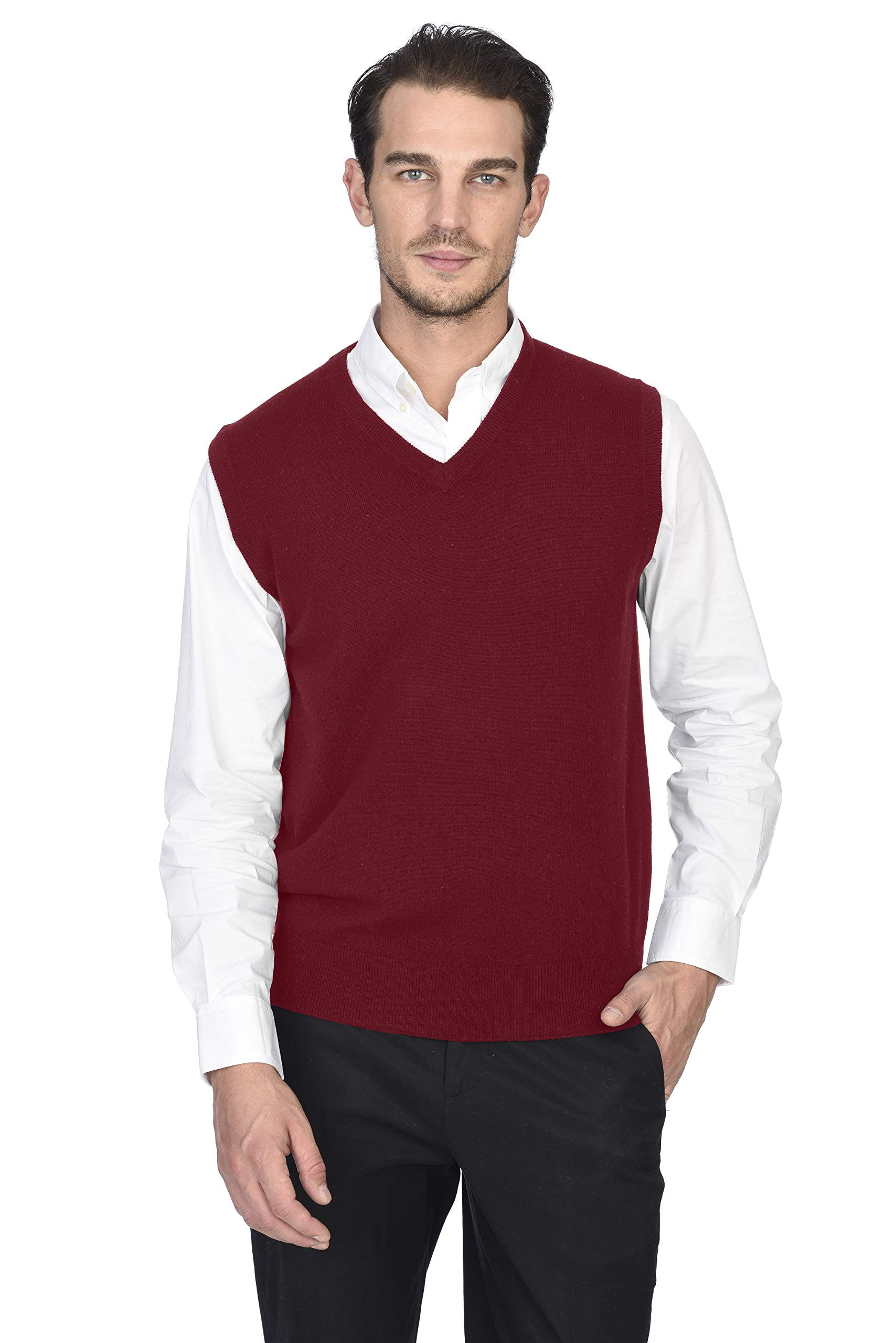 State Cashmere Men's Classic Sleeveless Sweater Vest 100% Pure Cashmere V-Neck Style Pullover (X-Large, Burgundy) by State Cashmere