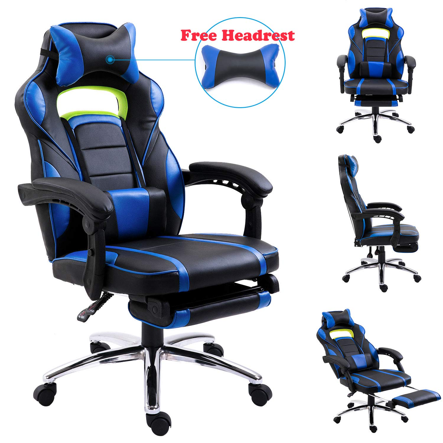 EUCO Gaming Chair,Racing Style Reclining Computer Chair with Retractible  Footrest Comfy Executive Office Chair High Back PC Chair Swivel Desk Chair