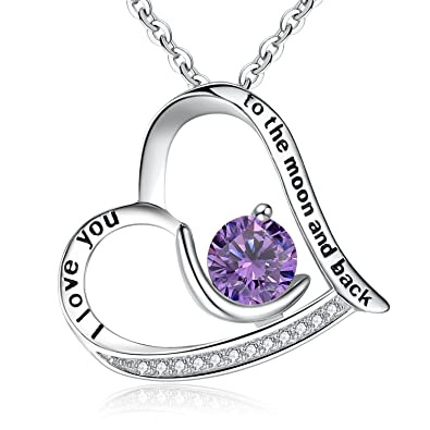 Clearine Halskette Damen 925 Sterling Silber CZ Eingraviert Gravur quot I Love  You to the Moon 3677697061