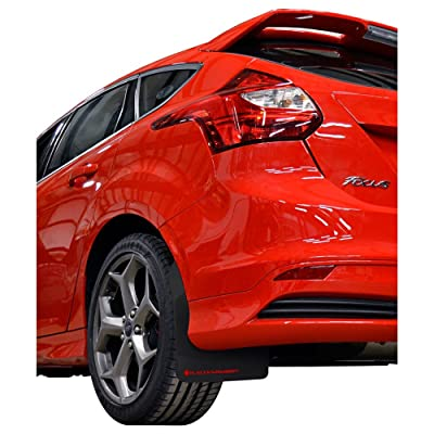 Rally Armor MF27-UR-BLK/RD Black, Red Mud Flap with Logo (13-18 Ford FocusST): Automotive