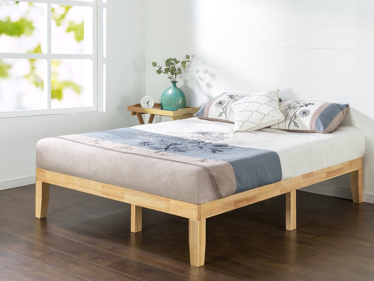 Zinus Moiz 14 Inch Wood Platform Bed No Box Spring Needed Wood Slat Support Natural Finish, Twin