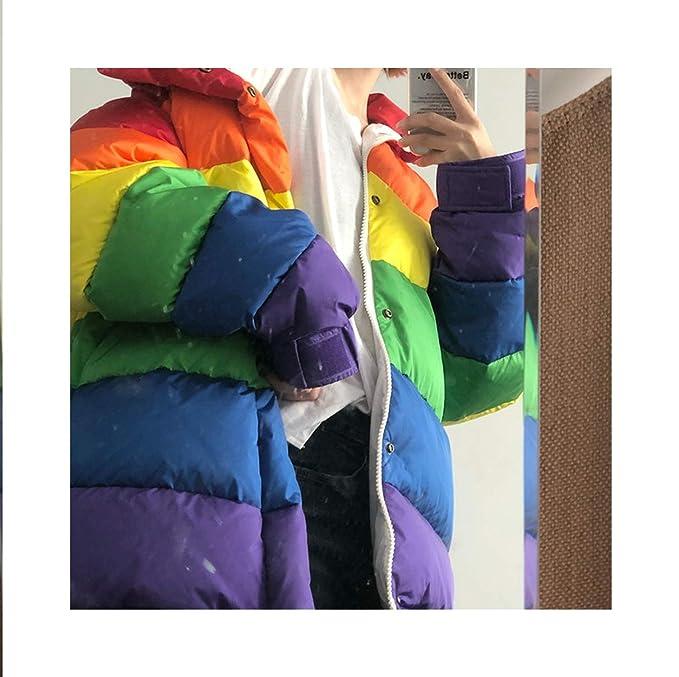 Amazon.com: world-palm Winter Jacket Women Rainbow Wadded Parka Plus Size Loose Striped Padded Coat Multi,One Size,: Clothing